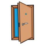 Öppen dörr. Tecknad filmstil. Arkivbild