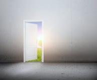 Öppen dörr till en ny värld, det gröna sommarlandskapet. Begreppsmässigt Arkivbild