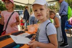 Öppen dag av Sberbank för barn artikulera Tyumen royaltyfri bild