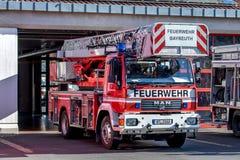 Öppen dag av tyska brandmän i Bayreuth (Bayern) Arkivbild
