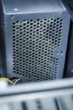 Öppen datorströmförsörjningenhet med damm arkivbild
