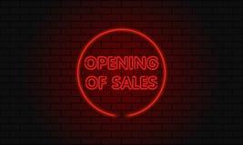 Öppen försäljning för neontecken i en cirkel på bakgrund för tegelstenvägg Fotografering för Bildbyråer
