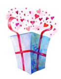 Öppen gåvaask med hjärtor som ut flyger Utdragen vattenfärgillustration för hand för St-valentin dag royaltyfri illustrationer