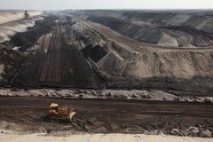 Öppen-grop coalmining nära Cottbus, Brandenburg, Tyskland Arkivbilder