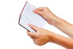 öppen handanteckningsbok Arkivbilder