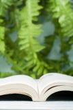 Öppen inbunden bokbok, på trätabellen Naturlig bakgrund tillbaka skola till Kopiera utrymme för text Royaltyfri Foto