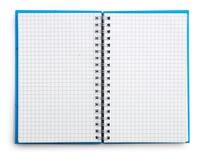 öppen isolerad anteckningsbok Arkivbild
