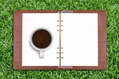 öppen kaffedagbok Royaltyfria Bilder