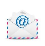 Öppen kuvertluft med symbolen av den elektroniska bokstaven innerst inne Royaltyfria Bilder