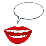 Öppen kvinnas mun med illustrationen för anförandebubblavektor royaltyfri illustrationer