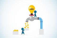 Öppen lightbulbvattenkran för affärsman som vinner guld- mynt, idé och affärsidé Arkivfoton