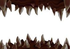 öppen mun för monster 3d med krokiga skarpa tänder som är klara att bita stock illustrationer