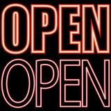 Öppen neonskylt Arkivbilder