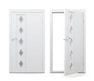 Öppen och stängd dörr på vit bakgrund framförande 3d stock illustrationer