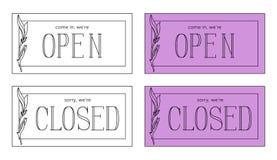 Öppen och stängd vektorplatta Minimalistic stil stock illustrationer