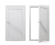 Öppen och stängd vit dörr på vit bakgrund 3d sliter stock illustrationer