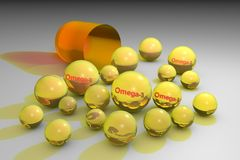 Öppen orange kapsel med gula piller omega-3 Close upp Fleromättade fettsyror Vitamin och mineral stock illustrationer