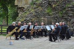 öppen orkestersaxofon för luft Royaltyfri Foto