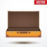 Öppen resväska för tappningläderlopp Arkivfoton