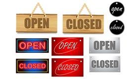 Öppen-stängt hänga för tecken Stock Illustrationer