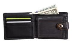 Öppen svart läderplånbok med kontanta dollar Royaltyfria Bilder