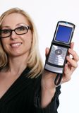 öppen telefon för famaleflipholding Royaltyfri Fotografi