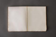 Öppet boka på grå färgbakgrund Arkivfoto