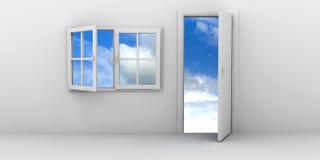 öppet fönster för dörr stock illustrationer
