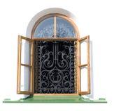 öppet fönster för dekorativt galler Royaltyfria Foton