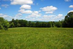 Öppet grönt fält i New Hampshire på en ljus solig försommardag Royaltyfri Bild