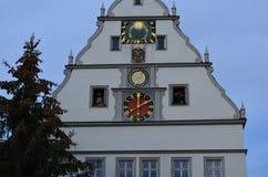 Öppet klockatorn i Rothenburg obder Tauber, Tyskland fotografering för bildbyråer