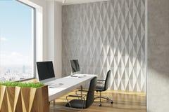 Öppet kontor för grå diamantväggmodell, closeup stock illustrationer