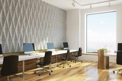 Öppet kontor för grå diamantväggmodell, hörn vektor illustrationer