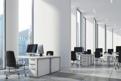 Öppet kontor för vit, vägg, nära övre för hörn stock illustrationer