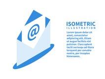 Öppet kuvert med en bokstav, postsymbol Isometrisk mall för rengöringsdukdesign i plan stil 3D också vektor för coreldrawillustra royaltyfri illustrationer