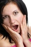 öppet kvinnabarn för mun Arkivfoton