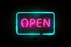 ÖPPET neontecken, ljus skylt, glödande baner stock illustrationer
