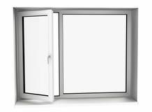 öppet plastic fönster för exponeringsglas Royaltyfria Foton