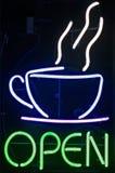 öppet tecken för kaffe Arkivfoto