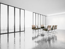 Öppet utrymmemötesrum med panorama- fönster 3d Arkivbild