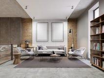 Öppet utrymmezonlägenhet med soffan och fåtölj och dekorerad vägg med två tomma bilder som är falska upp Bokhyllan med bokar vektor illustrationer