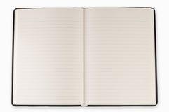 Öppna anmärkningsboken för den tomma sidan Arkivfoto