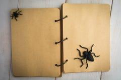 Öppna anteckningsboken med spindlar över den vita trätabellen Royaltyfria Bilder
