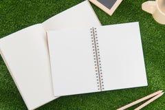 Öppna anteckningsboken och blyertspennan på gräsfält Royaltyfria Bilder