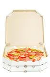 Öppna asken med pizza Arkivbilder