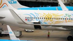 Öppna bagagedörren av flygplan stock video