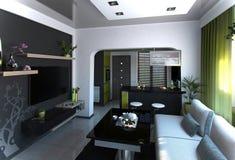 Öppna begreppsvardagsrum- och kökplats 4, tolkningen 3D Royaltyfria Foton