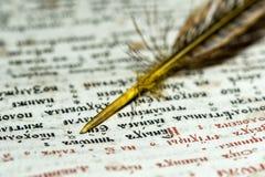Öppna bok- och vingpennacloseupen Arkivbilder