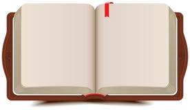Öppna bokdagboken med bokmärken Royaltyfri Bild