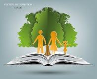 Öppna boken av lyckliga familjberättelser stock illustrationer